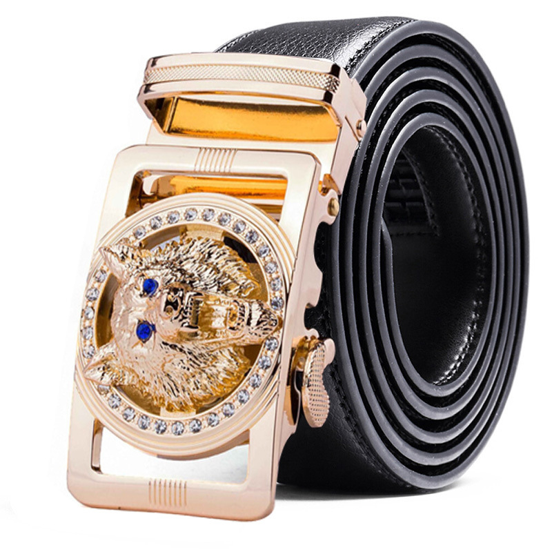 Genuine Leather Wolf Belt For Men Polychrome Rhinestone Alloy Belt Automatic Buckle Black Luxury Brand Plus Size Ceinture Homme