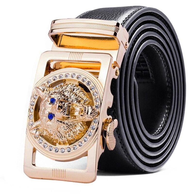 Genuine Leather Wolf   belt   for Men Polychrome rhinestone Alloy   belt   automatic buckle black Luxury Brand plus size Ceinture Homme