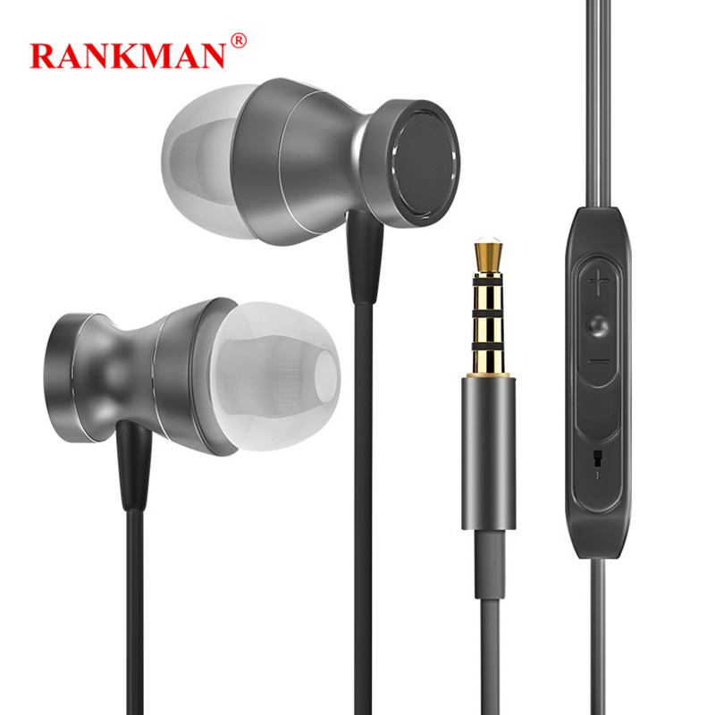 Rankman Sport Wired 3.5mm Jack Earphone Stereo Bass Music Magnet Earbuds with Mic for Phones MP4 Speaker PC Laptops
