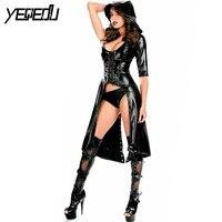 #1531 Faux Leather Bodysuit Women Sexy Club Wear Black Cloak Women Bodycon Rompers Bandage PU Leather Bodysuits Femme Plus Size