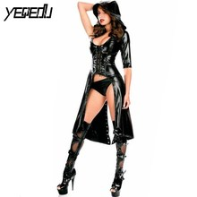 yeqedu 1531 Faux Leather Sexy Club Black Cloak Women Bodycon Rompers Bandage