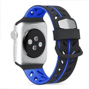 Image 2 - Silikon Glatte Armband Armband 42 MM Zwei Farbe Mode Ersatz Bunte Sport Weichen Bequemen Handgelenk Band Für IWatch Serie