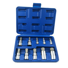 10 Pcs 12 Point Mm Triple Square Spline Bit Socket Set M4-M18 7068A dengan Biru/Merah Penyimpanan Case(China)