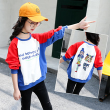 Girls Sweater kids clothes 2019 Spring Autumn New Baby Clothes Long Sleeve Cotton Cartoon Pullover Print Splicing Children Tops недорого