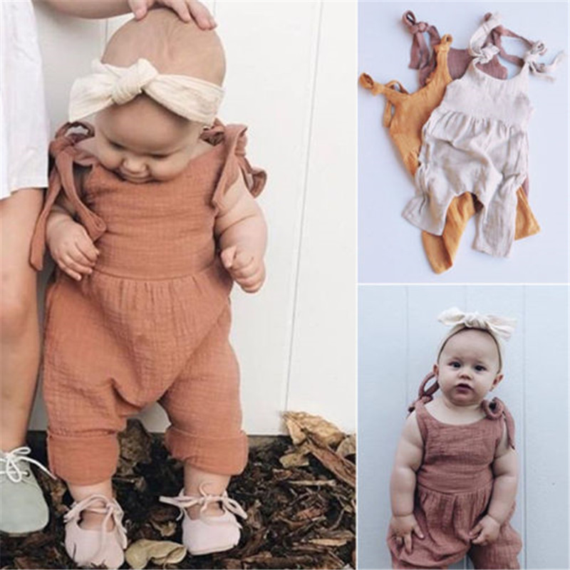 Romper   Newborn Toddler Kids Baby Girls Clothes Sling Sleeveless Solid Color Summer Cotton Jumpsuit Leotard Girl Jumpsuit