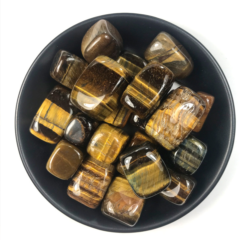 100g natural yellow tiger eye hand piece crystal crushed stone degaussing DIY ji landscaping decoration quartz