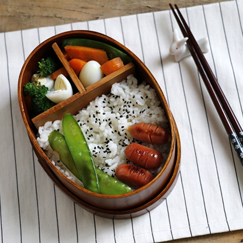 Natural <font><b>Wood</b></font> <font><b>Lunch</b></font> <font><b>Box</b></font> Wooden Bento Lunchbox Food Container Japanese Travel School Camping <font><b>Lunch</b></font> <font><b>Box</b></font> with Dinnerware Set image