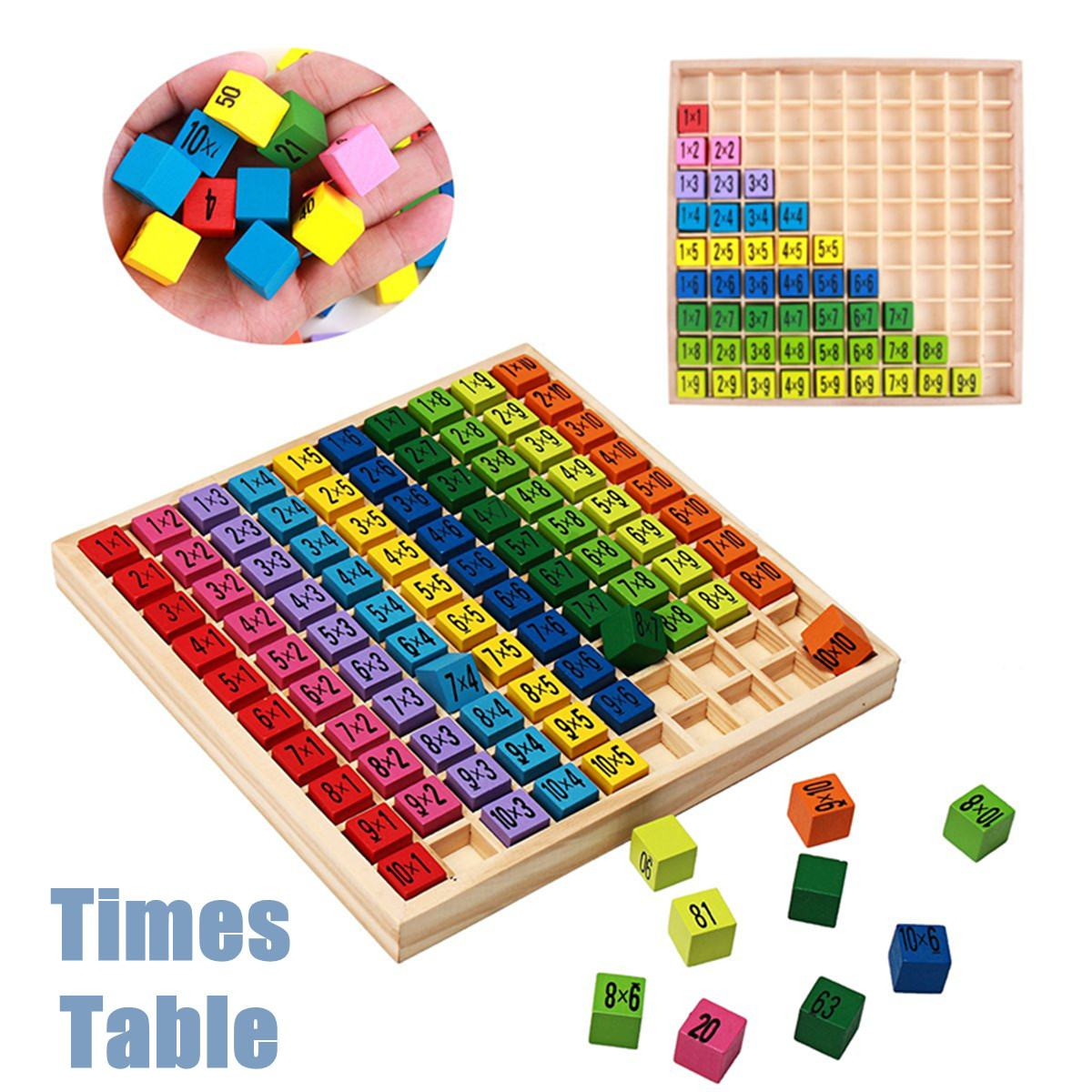 Educational Wooden Times Table Kids Mathematics Learning Toys Blocks Children Gifts Math Toys IQ Develop Colorful 19x19cm