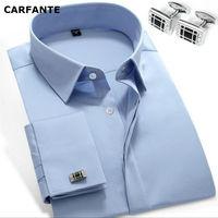 CARFANTE Business Dress shirt men brand long sleeve french cuff Shirts MCXW1302 XS 4XL