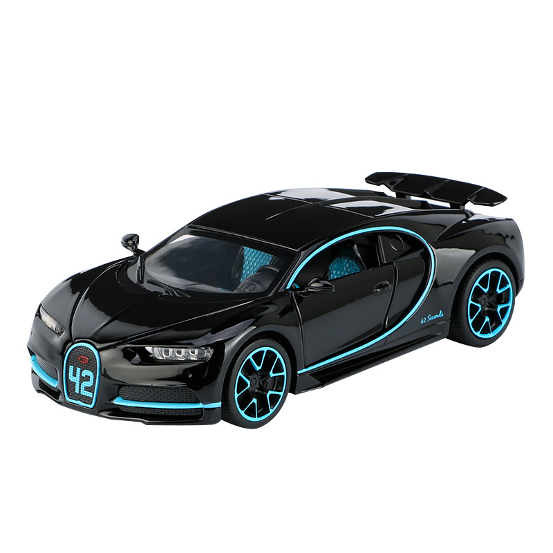 3225A 1:32 Scale Bugat Chiron Alloy Sports Car Model Diecast Sound Light Pull Back Door Toy For Children Hot Vehicles Gift Wheel