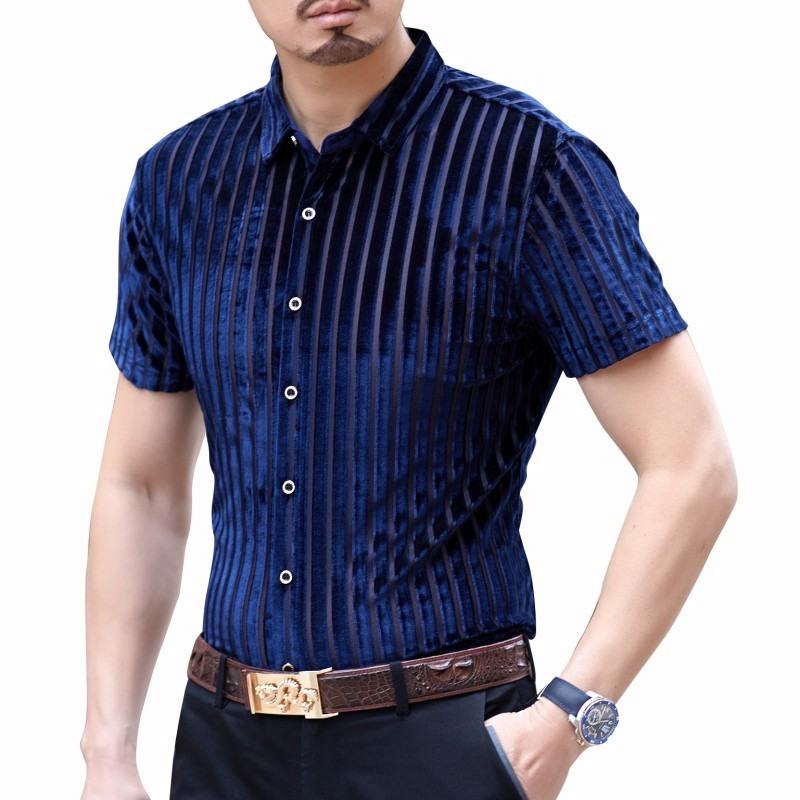 Camicia Uomo 2019 Summer Fashion Streetwear Shirt Transparent Short Sleeve Camisa Hombre Shirt Hawaiian Man Shirt Camisa Social
