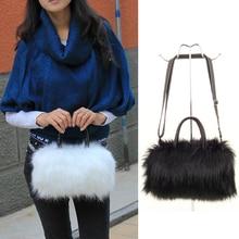 Girls Lady Fashion PU Leather & Faux Fur Handbag Shoulder Ba