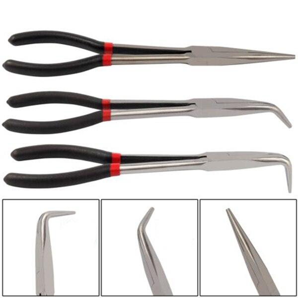 Handwerkzeuge Hho-3x 11 Zoll Extra Lange Nase Zangen Set Gerade & Gebogene Spitze Mechaniker Grip Hand Werkzeug