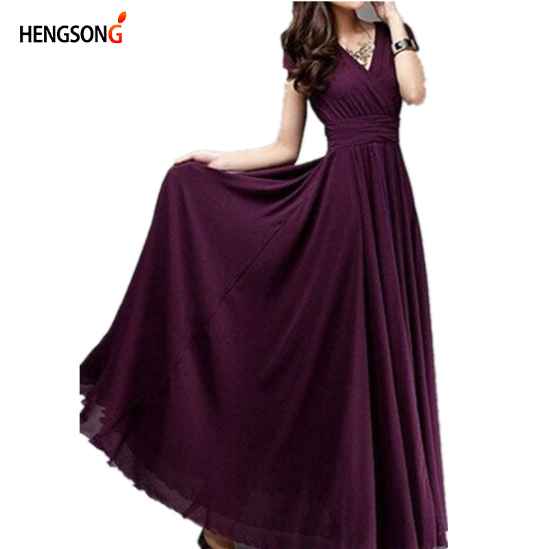 Hengsong 2018 New Women Maxi Dress Women Solid Color Boho Long Dress Party Bridesmaids Infinity Robe Longue Femme 802482 3