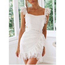 2019 Summer Women Backless Dress Elegant Bodycon White Lace Embroidery Hollow Out Mini