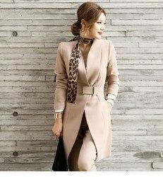 Frauen Pant Anzüge Blazer Set Casual Herbst Dame Business Büro Arbeiten Koreanische Uniform V-ausschnitt Lange Jacke Elegante Hosen Anzüge