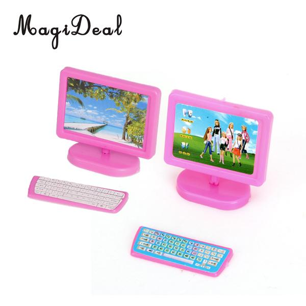 MagiDeal Dollhouse Miniature Three Piece Computer Set Pink For Doll Kids Room Desk Decor Baby Children Furniture Toy