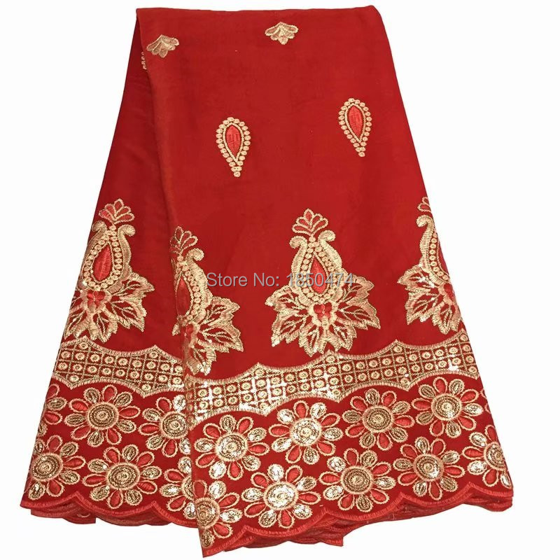 Fashion Red Velveteen Material African Embroidery Soft Velvet Lace Fabric With Gleamy Gold Sequins For Women