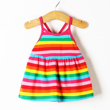 2018 Baby Girl New Kids Summer Beach Vest Striped Dress 100% Cotton Candy Rainbow Princess A Sling Dress Infant Clothing