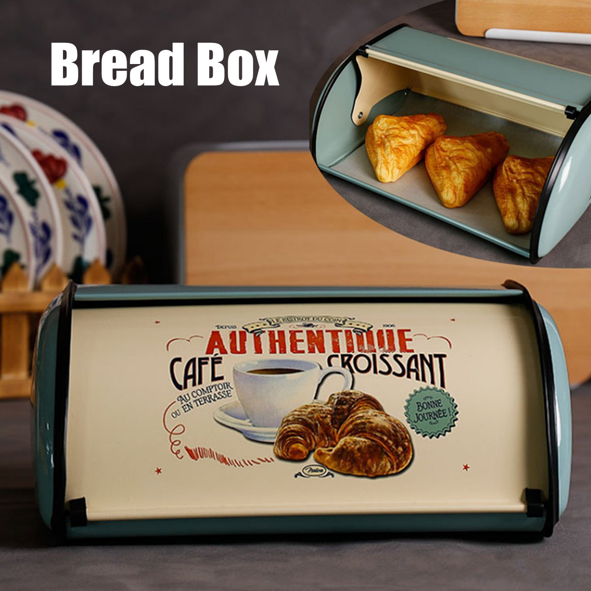 French Vintage Blue Bread Box Storage Bin Keeper Food Kitchen Container Galvanized Iron Snack Boxes For Home Decor 32X22X14cmFrench Vintage Blue Bread Box Storage Bin Keeper Food Kitchen Container Galvanized Iron Snack Boxes For Home Decor 32X22X14cm