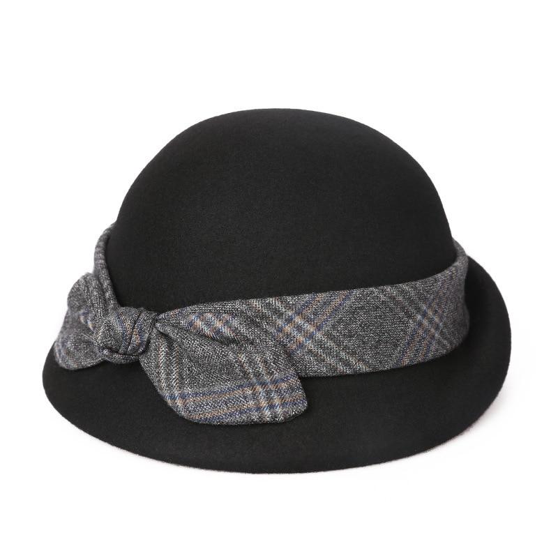 b7b3108daaec95 Lady Party Top Grade Pure Wool Felt Fedora Hat Women Autumn and Winter  Asymmetric Beret Cap