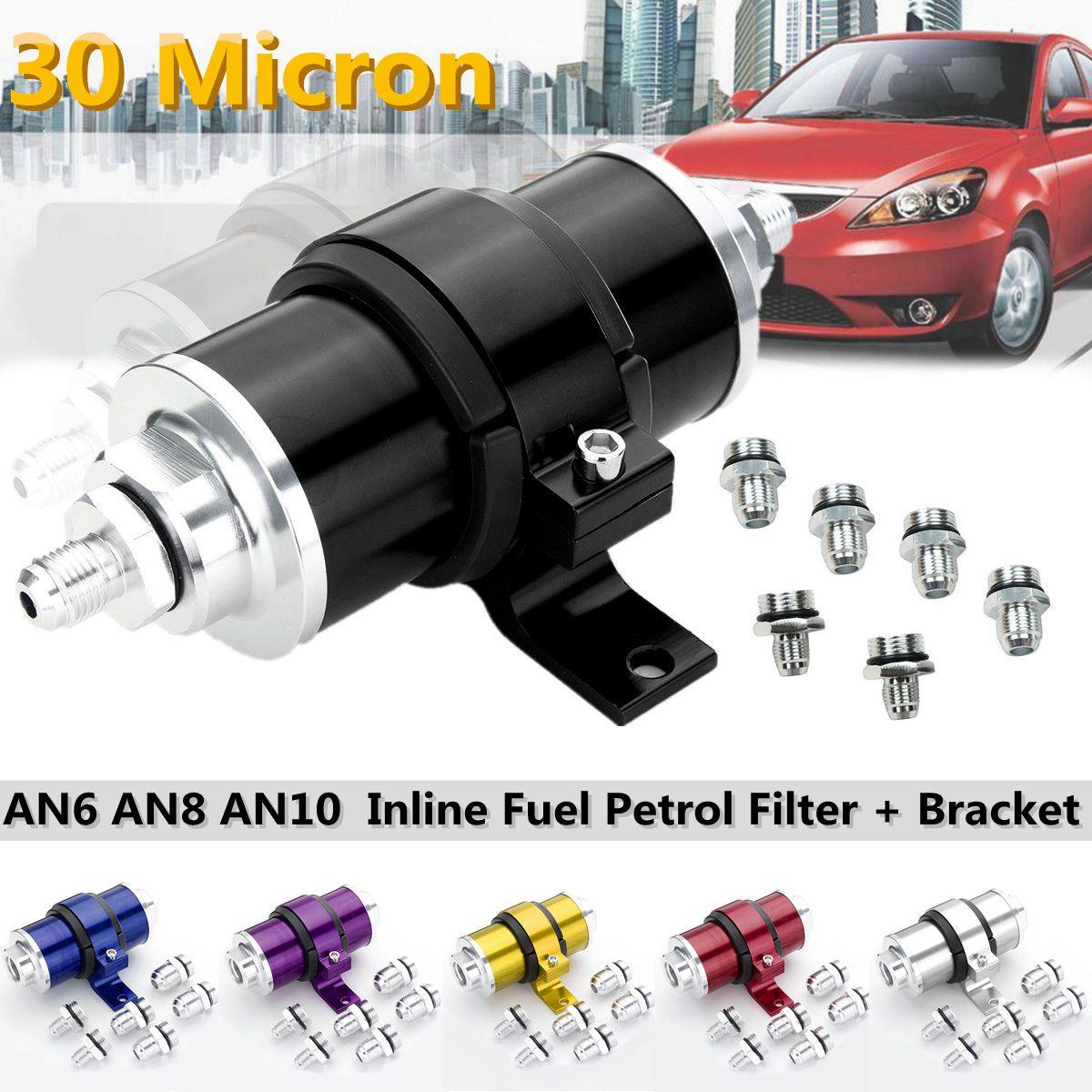 AN6 AN8 AN10 30 Micron Billet Aluminum Inline Fuel Petrol Filter+Bracket