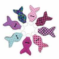 5/10pcs Mermaid Tail Neoprene Lipstick Holder Keychain Chapstick Key Chain Holder Lip Balm Vibrant Prints Key Chain Holder