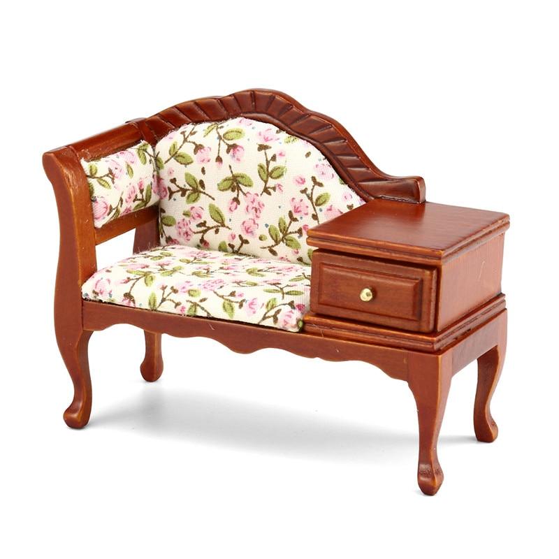 1:12 Wooden Dollhouse Furniture Miniature Sofa Dolls Decoration Handmade Simulation Mini Bedroom Furniture