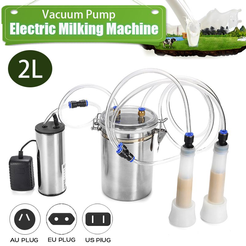110V 220V 2L Electric Cow Milking Machine 75Kpa Vacuum Pump Milker Double Head EU/US/AU Plug Milking Machine