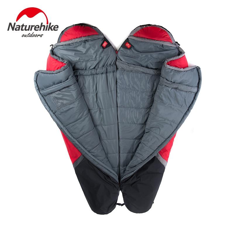 NatureHike цена от 0 до 5 градусов зимний Мумия спальный мешок для кемпинга Пешие прогулки путешествия может быть молнии вместе - 5