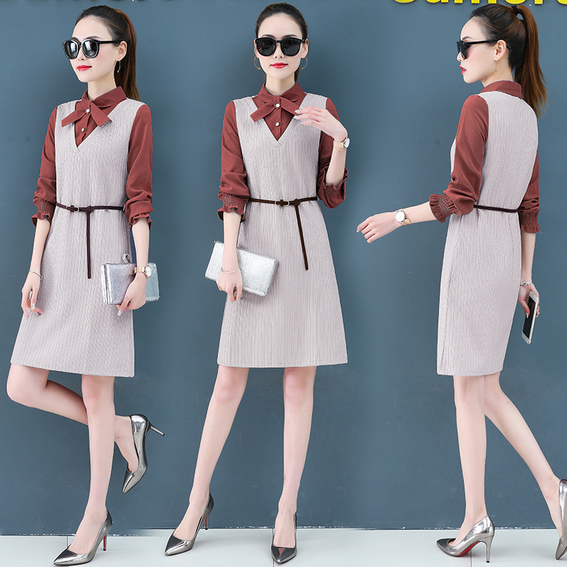 Render a dress in female new spring in the spring and autumn qiu dong fake two piece suit dress long 2