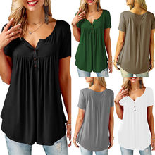Womens Casual Short Sleeve Loose T-Shirts Solid Color Button Pleated Tunic Tops