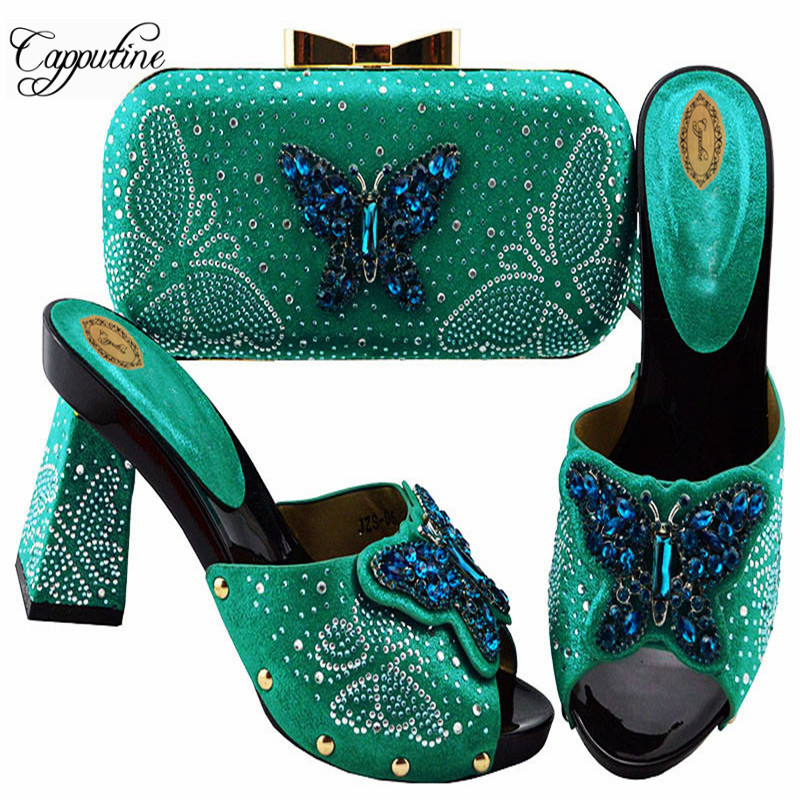 Capputine Nigerian Butterfly Party Shoes And Bag Sets African Decorated With Rhinestone High Heels Shoes And Bag Set For PartyCapputine Nigerian Butterfly Party Shoes And Bag Sets African Decorated With Rhinestone High Heels Shoes And Bag Set For Party