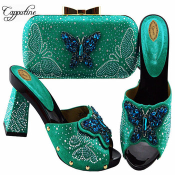 Capputine Nigerian Butterfly Party Shoes And Bag Sets African Decorated With Rhinestone High Heels Shoes And Bag Set For Party