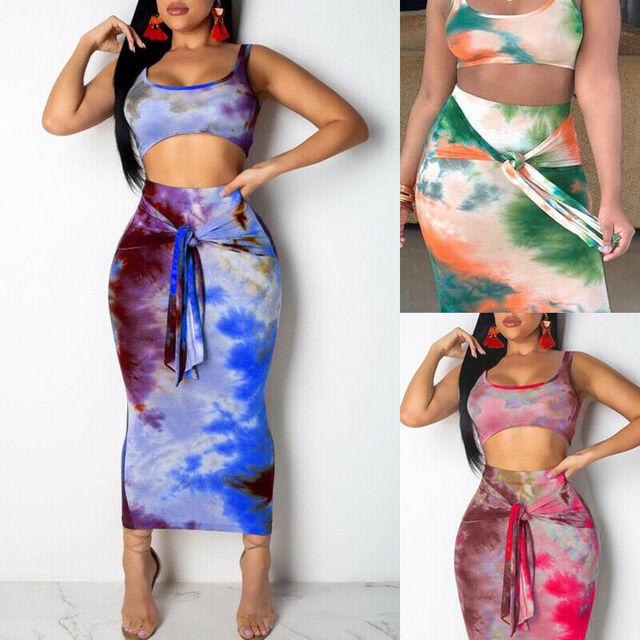2-Piece Tie Dye Tank Cami & Skirt 1