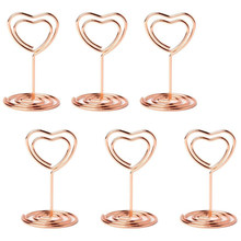 20pcs Mini Place Card Holders Table Number Stands Table Card Holder Wire Table Picture Photo Holder with Heart Shape Menu Memo(China)