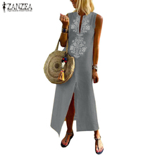 2019 ZANZEA Women Summer Sundress Vintage Print Sleeveless Maxi Vestidos Ladies Elegant Soft Fabric Robe Femme Beach  Dress