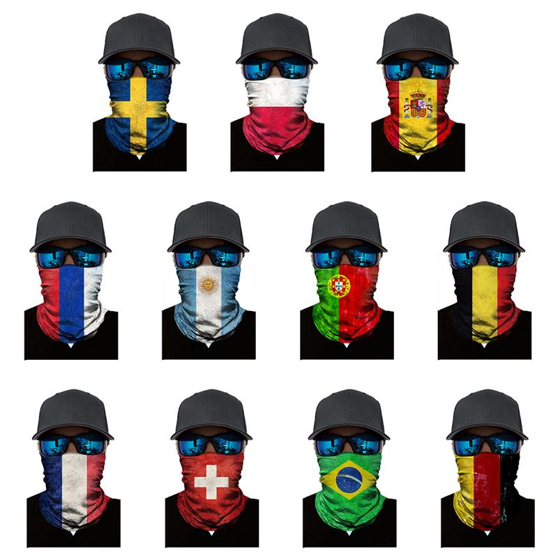 Fashion Breathable Mask Face Mask Outdoor Sports Cycling Mountaineering Digital Print World Cup Flag Turban Magic Seamless Mask