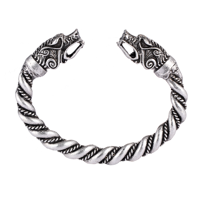 1 pc fait main Norse Viking Ferir père des loups Bracelets 3.5 oz hommes bras anneaux bijoux Antique argent Chunky torsion Bracelets 1