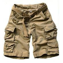 Шорты карго мужские с множеством карманов, камуфляжные короткие штаны, повседневные свободные камуфляжные, до колена, с поясом, бермуды, лето