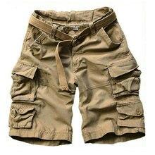 Verão carga shorts men muitos bolso camuflagem meia calças curtas casuais solto camo shorts na altura do joelho com cinto bermuda masculino