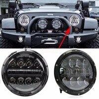 For Lada 4x4 urban Niva suzuki samurai 7 black LED H4 headlight daymaker lamps headlamp for Jeep Wrangler Land Rover Defender