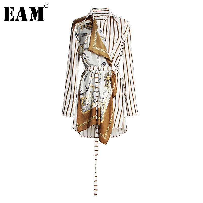 [EAM] 2020 New Spring Autumn Lapel Long Sleeve Striped Pattern Printed Irregular Stitch Loose Shirt Women Blouse Fashion JS565