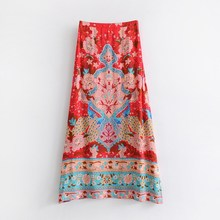 Summer Long Skirts Floral Print Bohemian Hippie Maxi Skirt Women Vintage Split Boho Beach Skirts цена