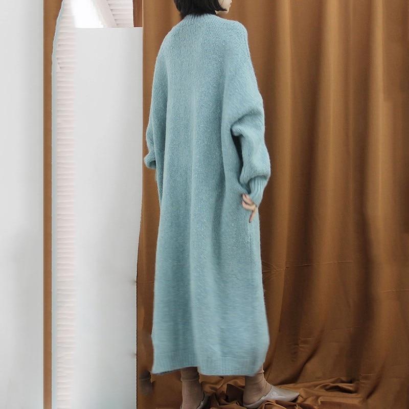 2019 eam green Li135 D'o Manches cou Pleine Lâche Match Tous Blue Grande Tricoter Les Nouvelle Taille À Pulls Longues Long Printemps Couleur Chandail Femme ddwF1rq