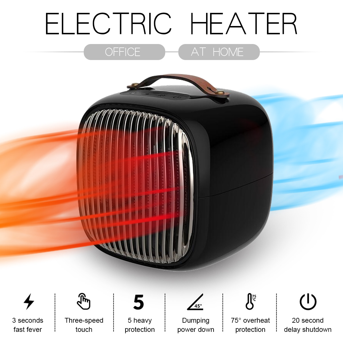3 Modes Portable Mini Electric Heater Air Blower Winter Warmer Fan Winter Warm Heating Device for Outdoor Camping Home Office oqsport outdoor camping mini usb air blower black