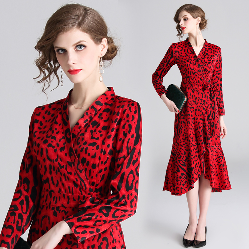 Split open Tunic Maxi Dressr leopard print dress v neck Runway Vintage Female Slim Party Long Dresses ruffle hem
