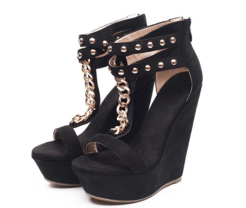 Chaîne Zip Cm Sandales Black Couleur Femmes 15 Protège Chaussures Été Peep forme Talons Plate Toe talon Rivets Des De Avec Hauts Super Coins Noir Et Sexy O7AHqw0