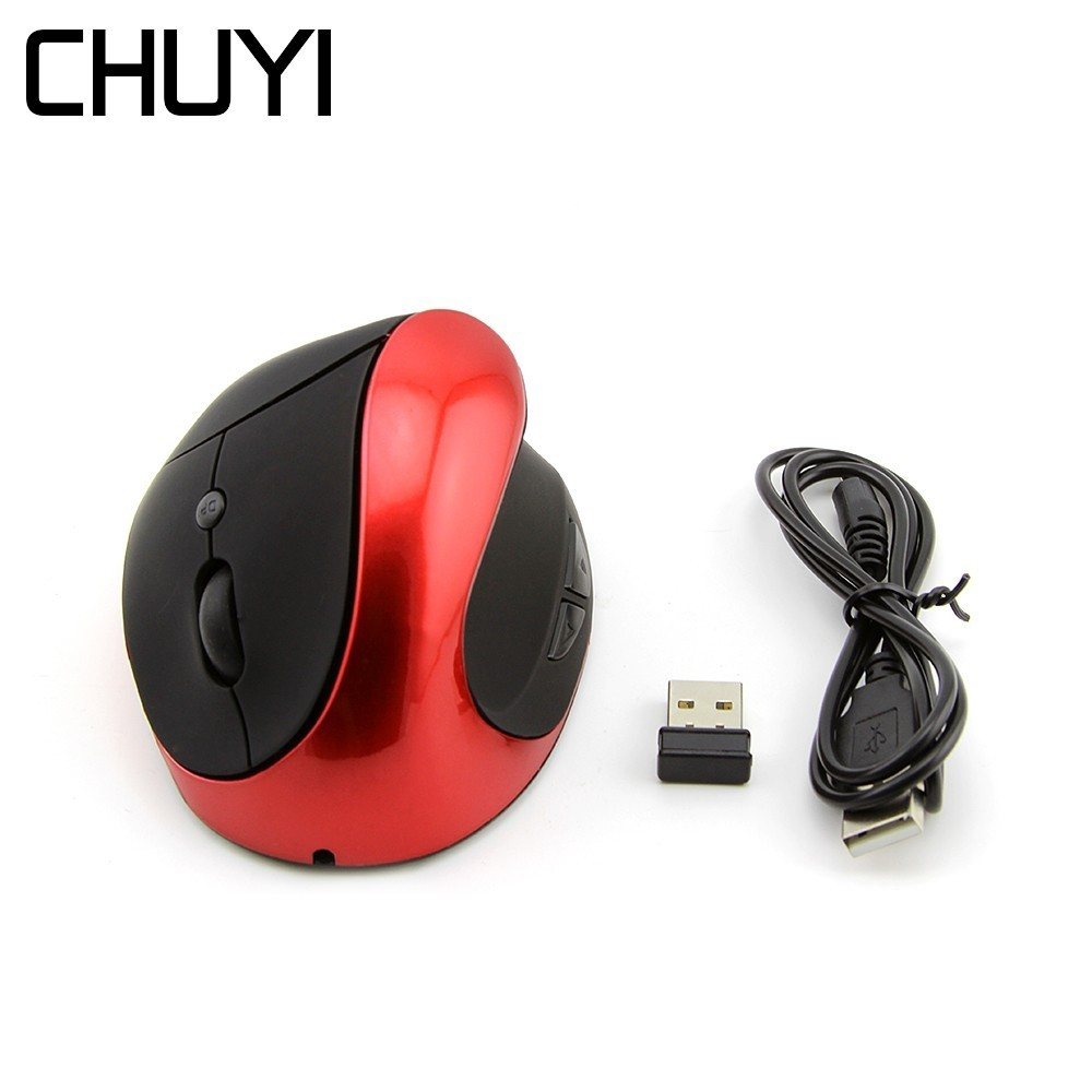 CHUYI 2.4Ghz Wireless Vertical Rechargeable Mouse Ergonomic Optical Gaming Mause USB Computer Mice With Mouse Pad For PC Laptop