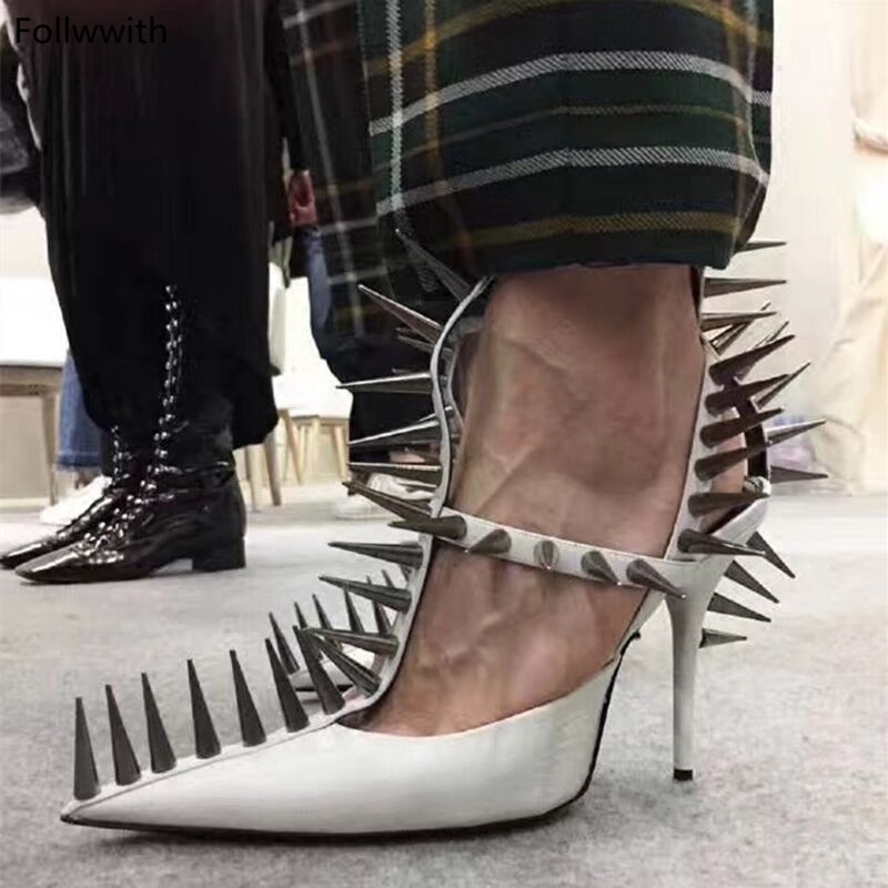 New Runways Fashion Gladiator High Heels Pumps For Women Shoes Spiked Metallic Rivets Pointed Toe Dress W Sandalia FemininaNew Runways Fashion Gladiator High Heels Pumps For Women Shoes Spiked Metallic Rivets Pointed Toe Dress W Sandalia Feminina